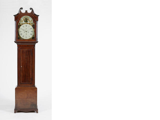 An early 19th century mahogany and inlaid longcase clock Signed John Russell Falkirk  WATCHMAKER ... indistinctly