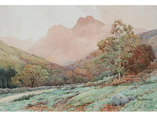 Alfred Fontville De Breanski 'Langdale Pikes, Cumbria', 37.5 x 54.5cm.