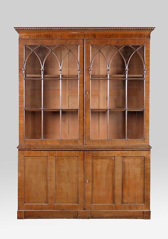 A late Regency mahogany cabinet bookcase