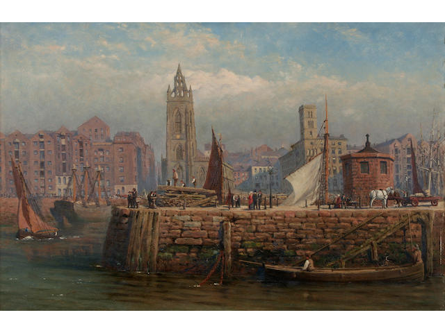 William Eden (Exh. 1866 - 1906) 'St Nicholas's Church and the George's Basin, Liverpool, 30 x 45.5cm.