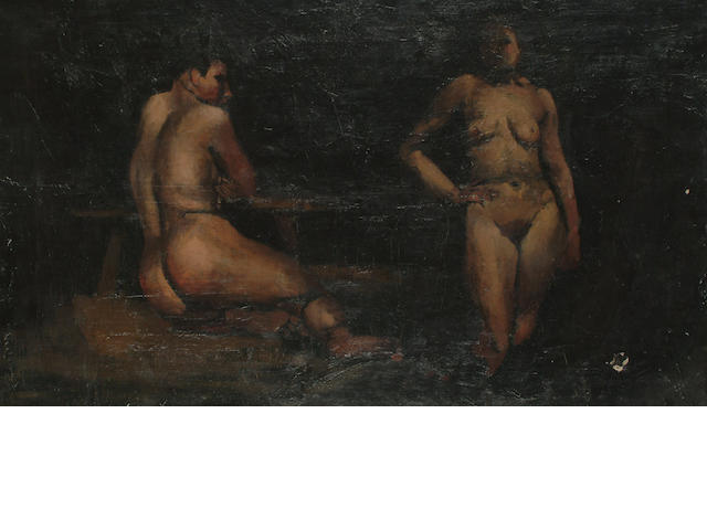 Rodrigo Moynihan (British, 1910-1991) Study of a male and female nude unframed 35.5 x 60.5cm (14 x 23 3/4in)