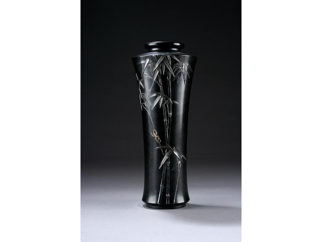 A Japanese inlaid bronze vase, Taisho period