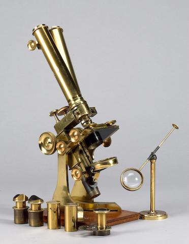 A Charles Collins brass binocular compound microscope, English, circa 1870,