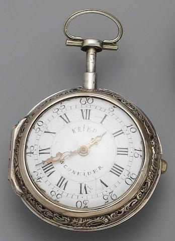 A late 18th century silver repousse repeating pocket watch Freiderich Schneider, Furth