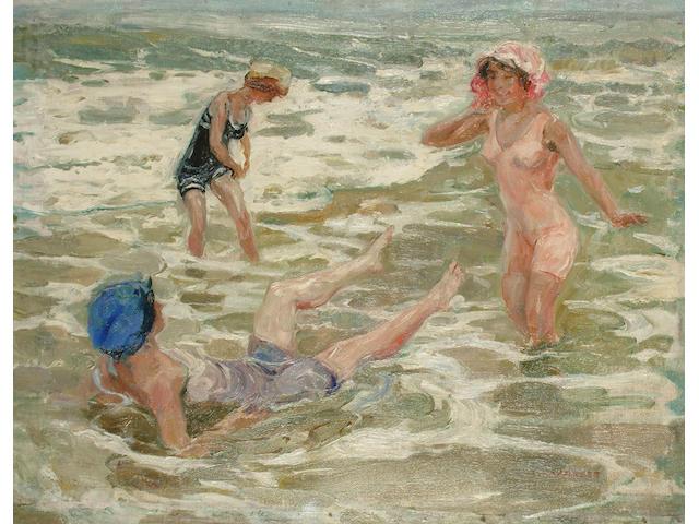 Camille Nicholas Lambert (Belgian, 1876-?) Three Women Bathing 52.5 x 66cm (20 3/4 x 26in)