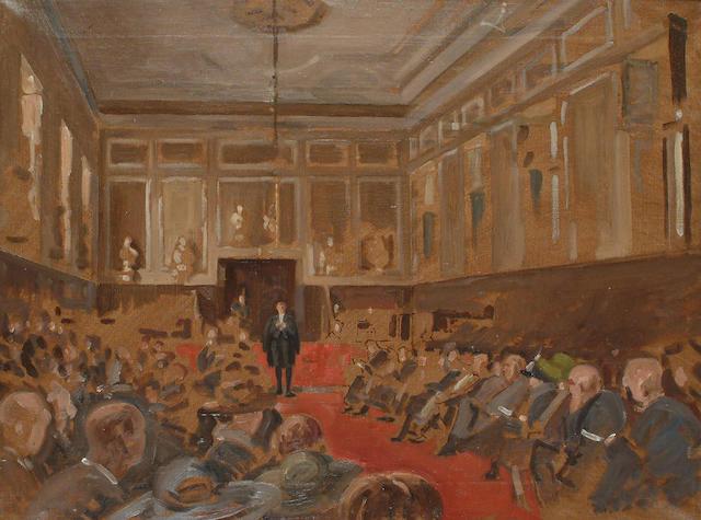 Richard W. Marriot (British, 1902-1942) Speech Day at Eton College 46 x 61cm (18 x 24in)