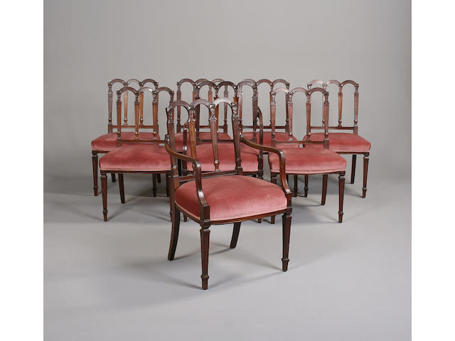 A set of eight late 19th century mahogany dining chairsin the George III style
