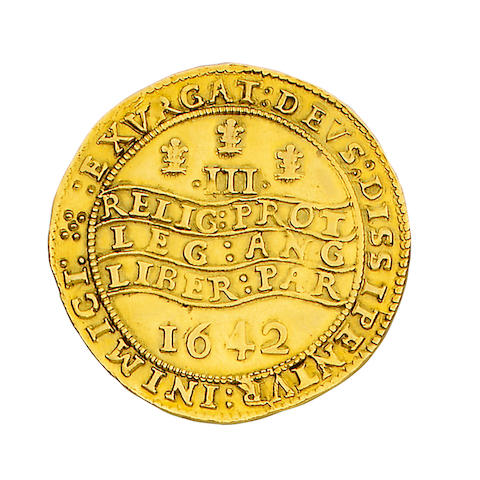 Charles I, Provincial and Civil War issues (1638-49), Oxford mint (1642-46), Triple unite, 27.0g, Oxford, 1642, on large flan, crowned half-length bust of king left, in armour, holding sword and olive branch, plume behind, reads, CAROLVS:D:G:MAG:BRIT:FRAN:ET:HIB:REX,