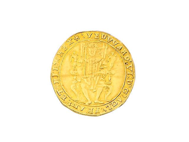 Edward VI, 1547-1553, Edward VI, second period (Jan.1549-Apr.1550), Sovereign, 10.2g, king seated facing on throne holding orb and sword, reads EDWARD VI D G AGL FRAN ET HIB REX,
