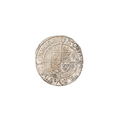 Elizabeth I, third issue (1561-65), Sixpence, 3.3g, 1565, m.m. pheon, very large bust left with rose and date,
