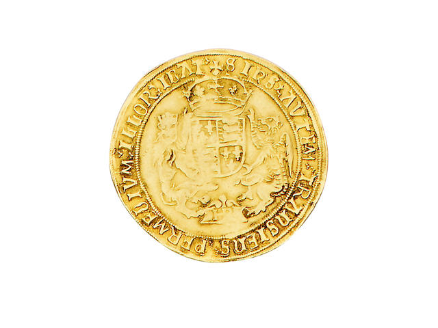 Henry VIII, third coinage (1544-47), Sovereign, 12.2g, Southwark mint, small module, king with bearded portrait seated facing on throne, holding orb and sceptre, throne with curved sides, rose at feet, HENRIC 8 DI GRA AGL AGL FRANCIE Z HIBER REX,