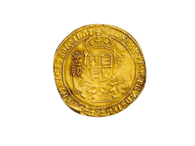 Henry VIII, third coinage (1544-47), Sovereign, 12.4g, Southwark mint, small module, king with bearded portrait seated facing on throne, holding orb and sceptre, throne with curved sides, rose at feet, HENRIC 8 DI GRA AGL FRANCIE Z HIBER,