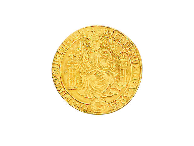 Henry VIII, third coinage (1544-47), Sovereign, 13.0g, Tower mint, king enthroned holding orb and sceptre, throne with curved sides, rose at feet, HENRIC 8 DI GRA ANGL FRANCIE Z HIBERN REX,