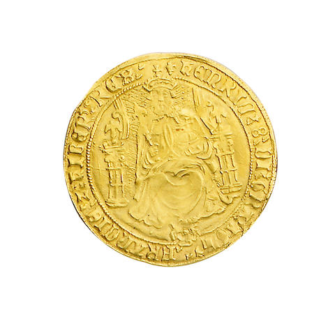 Henry VIII, third coinage (1544-47), Sovereign, 12.2g, Tower mint, type II, king with bearded portrait seated facing on throne, holding orb and sceptre, throne with curved sides, rose at feet, HENRIC 8 DI GRA AGL FRANCIE Z HIBER REX,