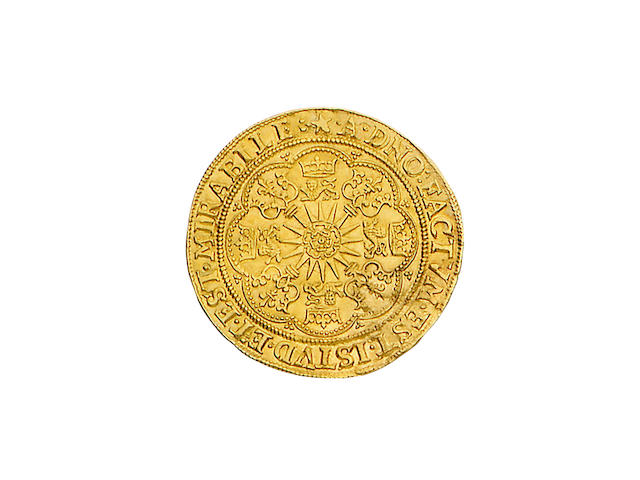 James I, second coinage (1604-19), Spur-ryal, 6.6g, king standing facing in ship, wearing armour and lace collar, holding sword and shield, rose on side, banner inscribed I on forecastle, IACOBVS D G MAG BRIT FRAN ET HIB REX,