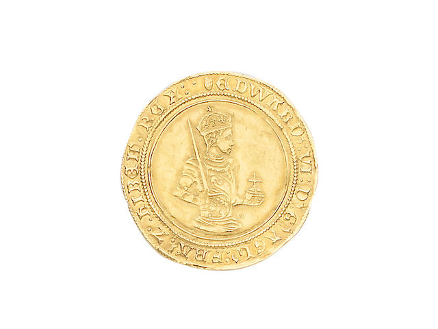 Edward VI, third period (1550-53), Sovereign, 10.8g, half length figure of king in armour right, crowned, carrying sword and orb, reads FRA Z HIBER,