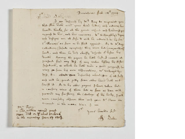 RAY (JOHN) Collection of papers and correspondence of John Ray and his executor Samuel Dale, from th