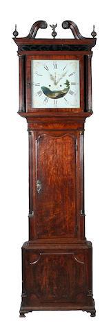 An oak and mahogany crossbanded white dial longcase clock, circa 1800,
