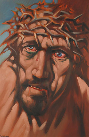 Peter Howson (British, b.1958) Head of Christ with crown of thorns 60 x 40cm (23 1/2 x 15 3/4in)