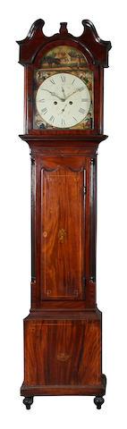 A mahogany and boxwood strung painted dial longcase clock, Charles Campbell, Bo'ness, circa 1800,