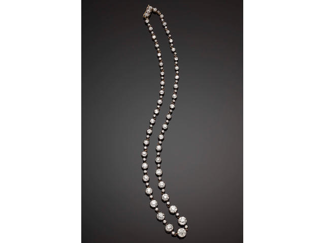 A diamond riviére necklace, retailed by the Gold and Silversmiths Company Ltd,