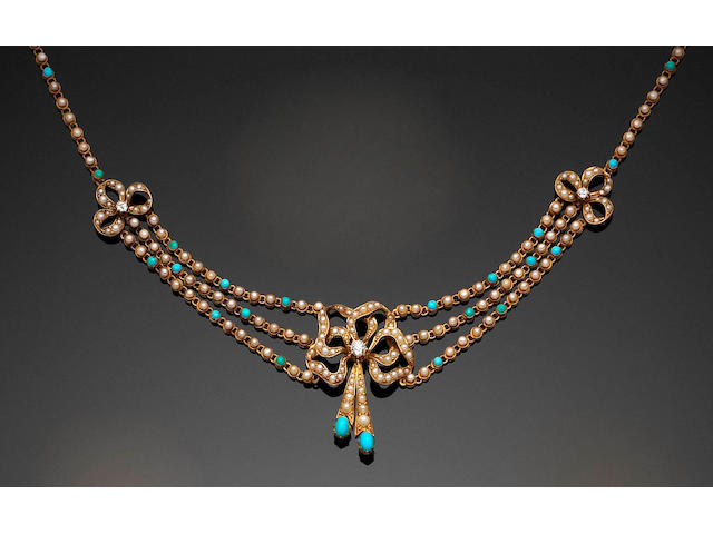 A late Victorian diamond, seed-pearl and turquoise necklace