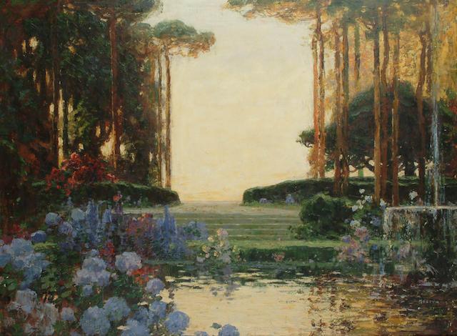Tom Mostyn (British, 1864-1930) The Garden of Romance 78 x 102cm (30 3/4 x 40in)