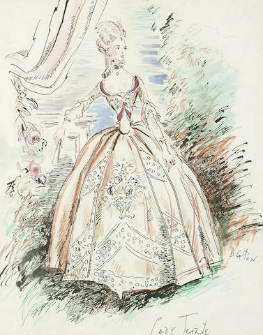 Cecil Beaton (British, 1904-1980) Sketch for Vivien Leigh's Costume in 'School for Scandal' 38 x 30cm (15 x 11 3/4in)