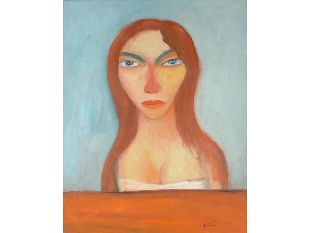 John Bellany (British, b.1942) Head of a woman with blue eyes unframed 76 x 60cm (30 x 23 1/2in)