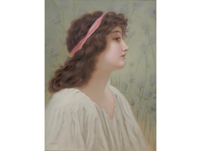 J Charnock, Portrait of a young woman, bust length, with a pink ribbon in her hair, signed, oil on canvas, 61 x 45cm.