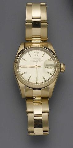 Rolex. An 18ct gold ladies bracelet watchRef:6900