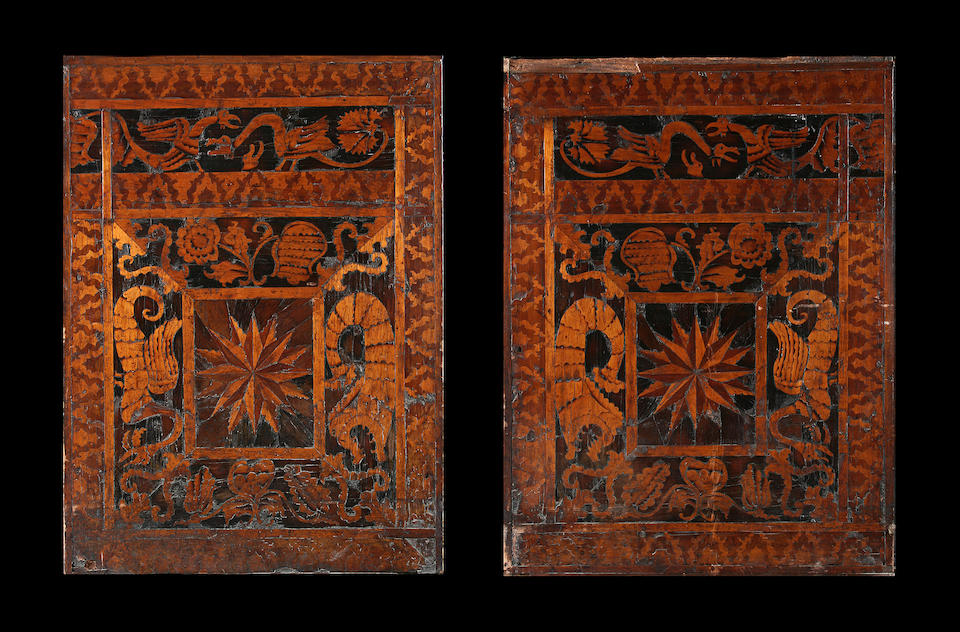 Two similar 18th century Continental (probably Italian) walnut and marquetry prayer cabinets