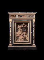 A fine pair of Empire ormolu-mounted Japanese black and gold lacquer pewter-inlaid ebony Side Cabine