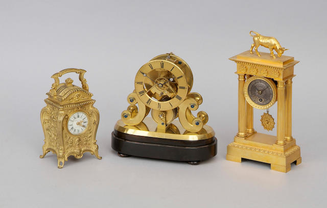 A French gilt bronze mantel timepiece
