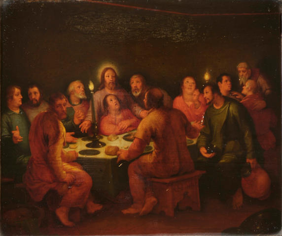 Circle of Abraham Bloemaert (circa 1564-1651) The last supper, oil on panel, 36 x 42.5cm.