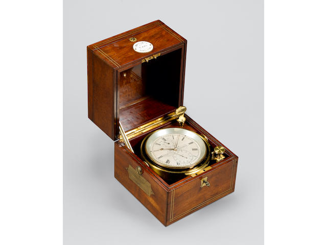 A brass strung mahogany two day marine chronometer  T. Bassnett, Liverpool, 2930