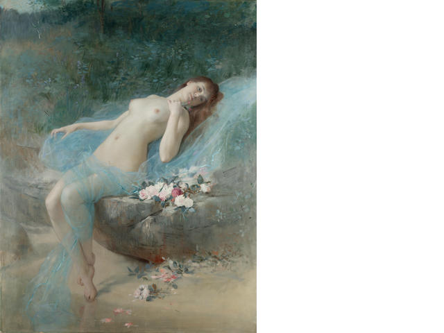 Vlaho Bukovac, oil of Reclining nude, signed and dated Paris 1887