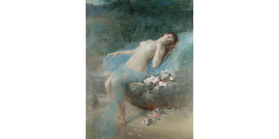 Vlaho Bukovac (Croatian 1855-1923) Reclining nude 127 x 97 cm. (50 x 38 1/4 in.)