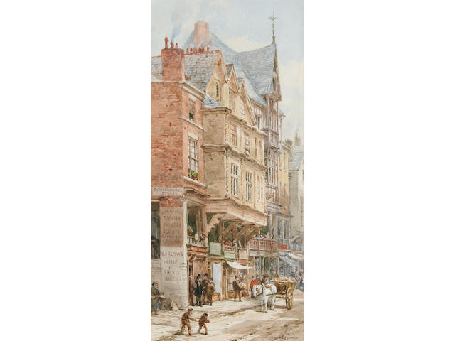 Louise Rayner (1832 - 1924) Watergate Street, Chester, 26 x 12cm.