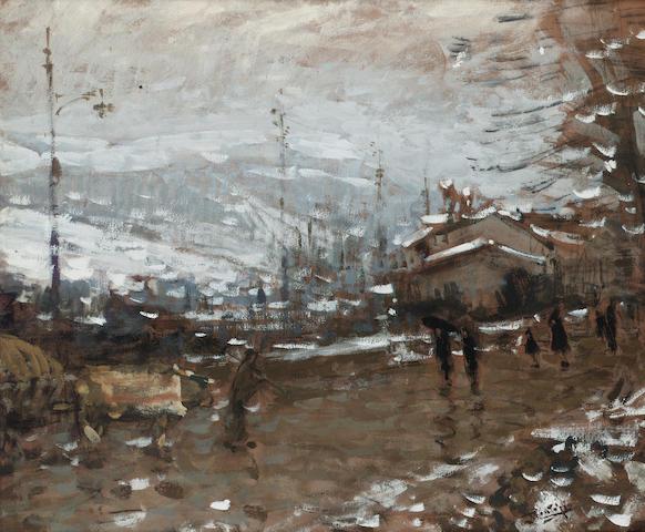 Pierre Eugène Montezin (1874-1946) Paysage de montagne sous la neige 46 x 55 cm. (18 1/8 x 21 5/8 in.)