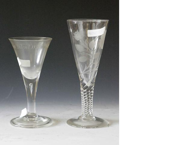 A large wine glass of Jacobite interest by Hingley of Stourbridge circa 1920