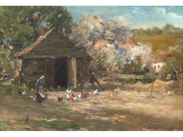 Owen Bowen R.O.I., P.R.Cam.A. (1873-1967) A figure feeding chickens in a farmyard 34 x 48cm.