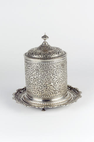 "A Cutch silver repousse Biscuit Box, signed ""VK"", Western India, late 19th Century"