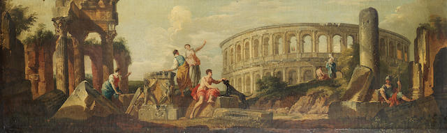 Follower of Giovanni Paolo Panini Figures amongst Roman ruins, 37.1 x 126.6 cm. (14 5/8 x 49 7/8 in.)