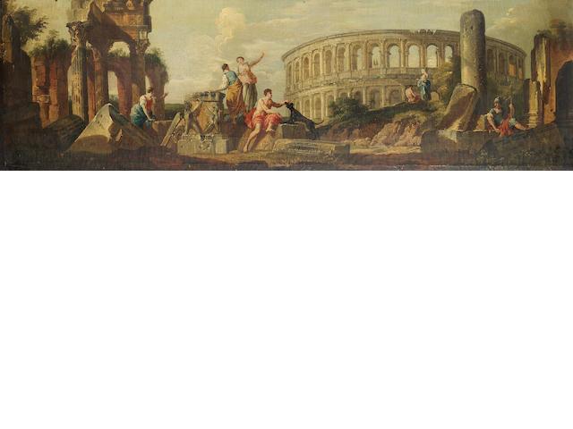Circle of Giovanni Paolo Panini (Piacenza 1691/2-1765 Rome) Figures amongst Roman ruins, 37.1 x 126.