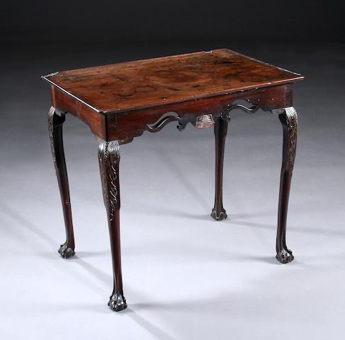 A rare mid 18th century Irish mahogany centre table