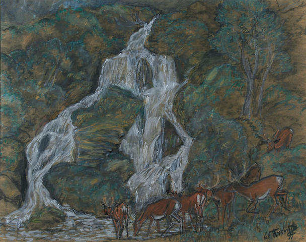 Charles Frederick Tunnicliffe (1901 - 1979) Deer watering at the foot of a waterfall, 43 x 55cm.