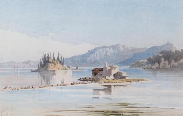 Angelos Giallina (1857-1939) Pontikinissi and Vlacherna, Corfu 27 x 42 in. (10 1/2 x 16 1/2 in.)