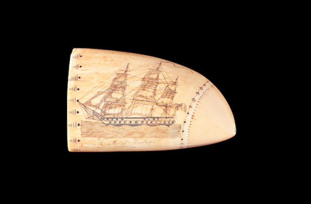 A rare scrimshawed sperm whale's tooth, attributed to Edward Burdett, circa 1825 Lenth 5in (12.8cm)