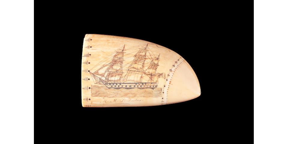 A rare scrimshawed sperm whale's tooth, attributed to Edward Burdett, circa 1825 Lenth 5in (12.8cm)